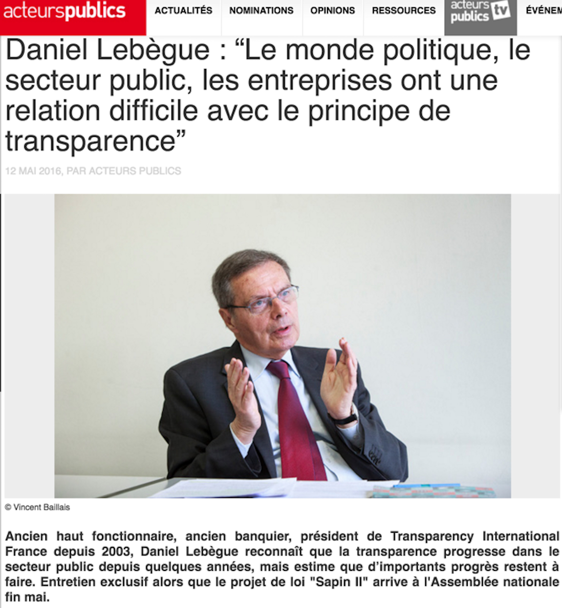 Daniel Lebègue Transparency International