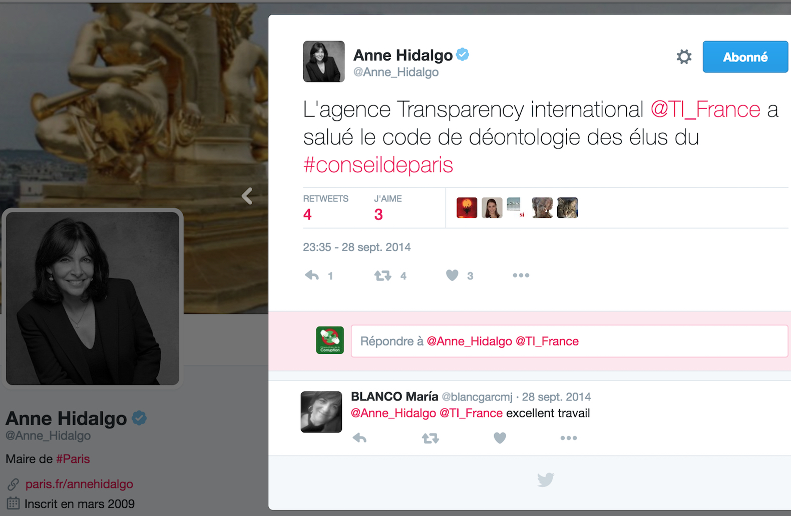Anne Hidalgo Paris Transparency International France