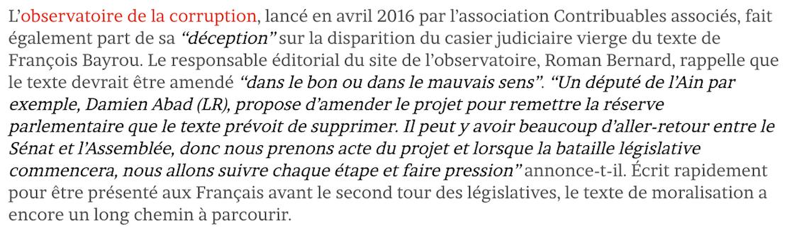 Le Lanceur Mathilde Régis Observatoire Corruption Casier Judiciaire Vierge Moralisation Vie Publique Contribuables Associés François Bayrou