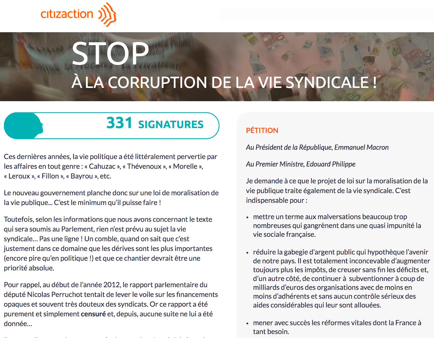 Citizaction Petition Corruption Syndicats